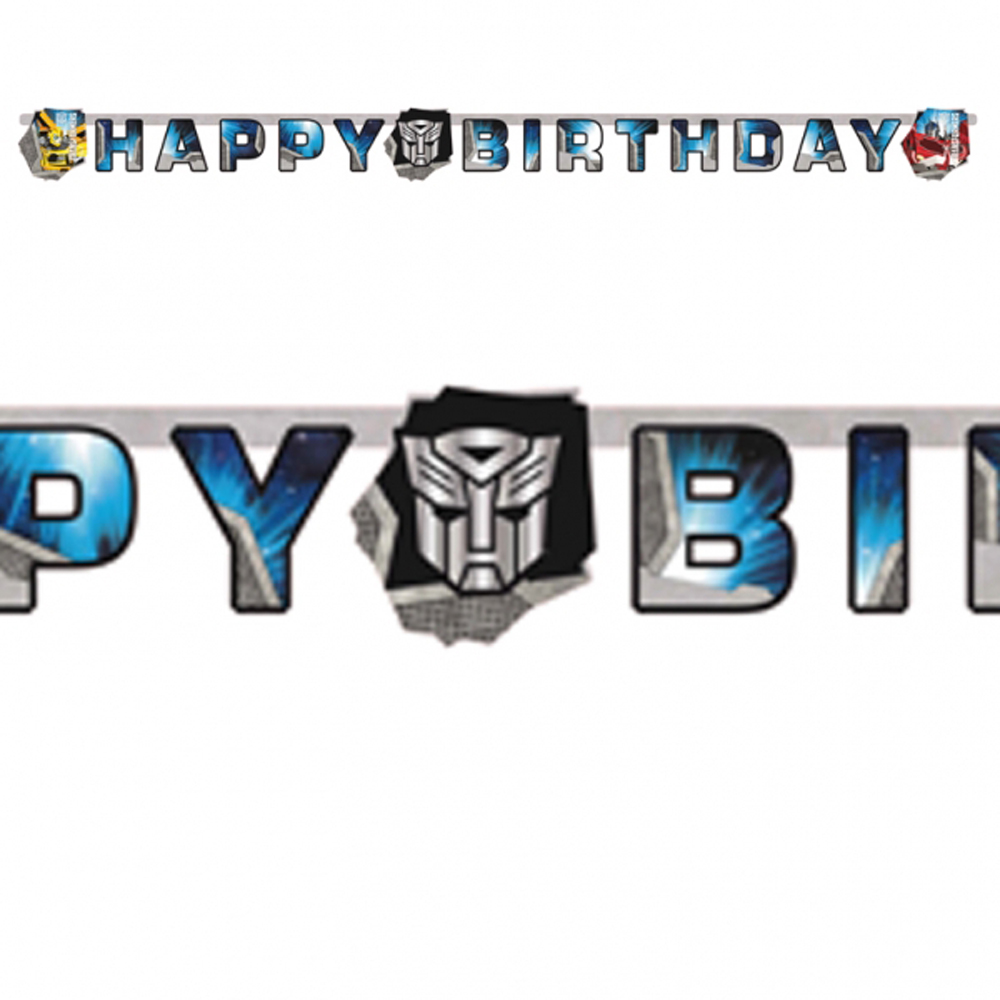TRANSFORMERS Party Happy Birthday Banner decoration garland