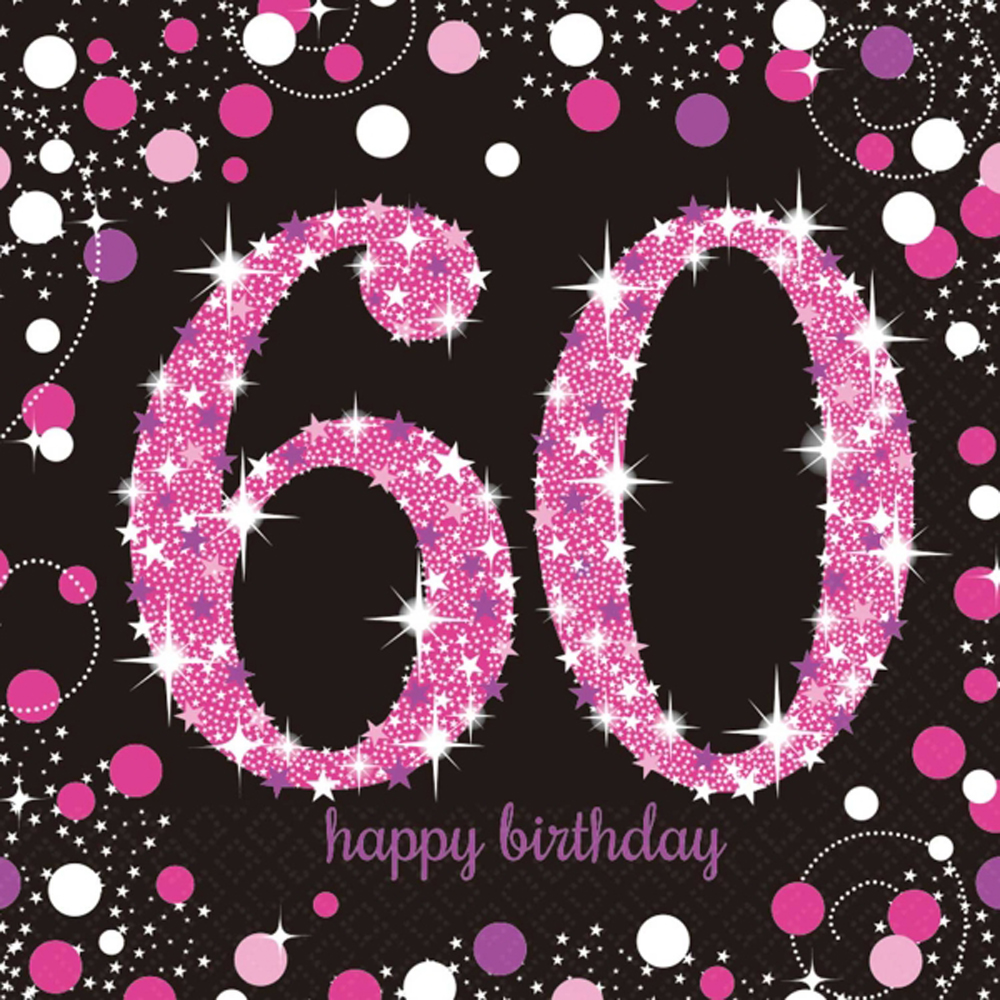 16 X Pink Celebration Age 60 Napkins Black 60th Birthday FREE PP