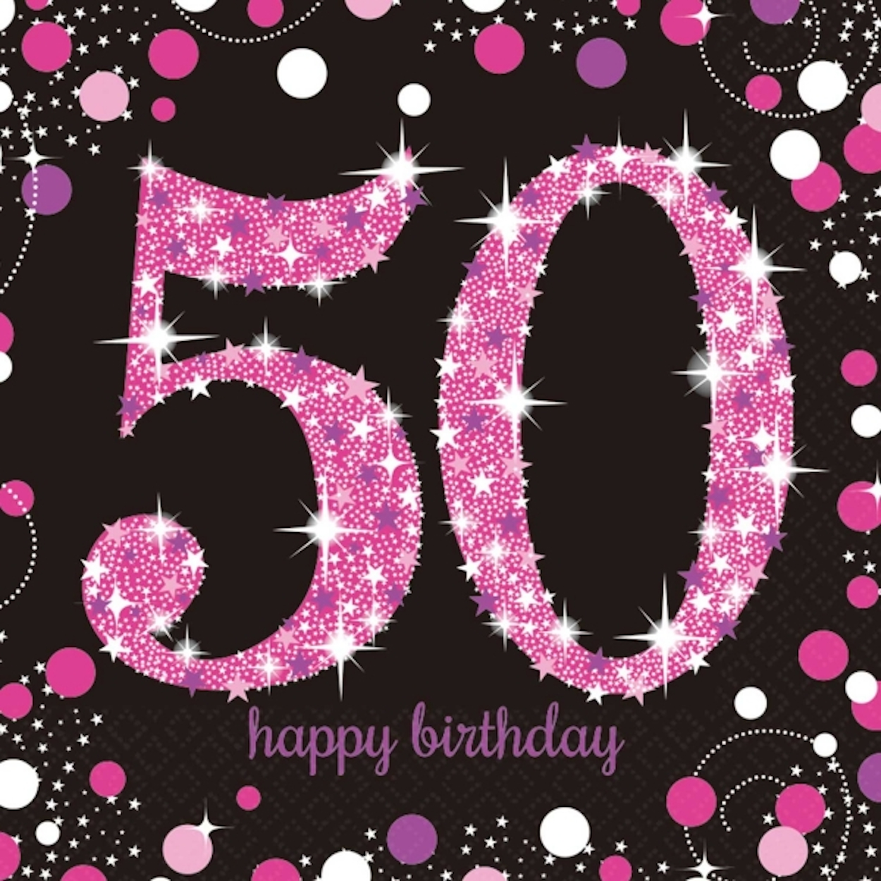 Details About 16 X Pink Celebration Age 50 Napkins Black 50th Birthday FREE PP