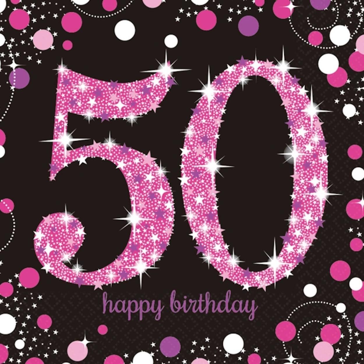 16 X Pink Celebration Age 50 Napkins Black 50th Birthday FREE PP