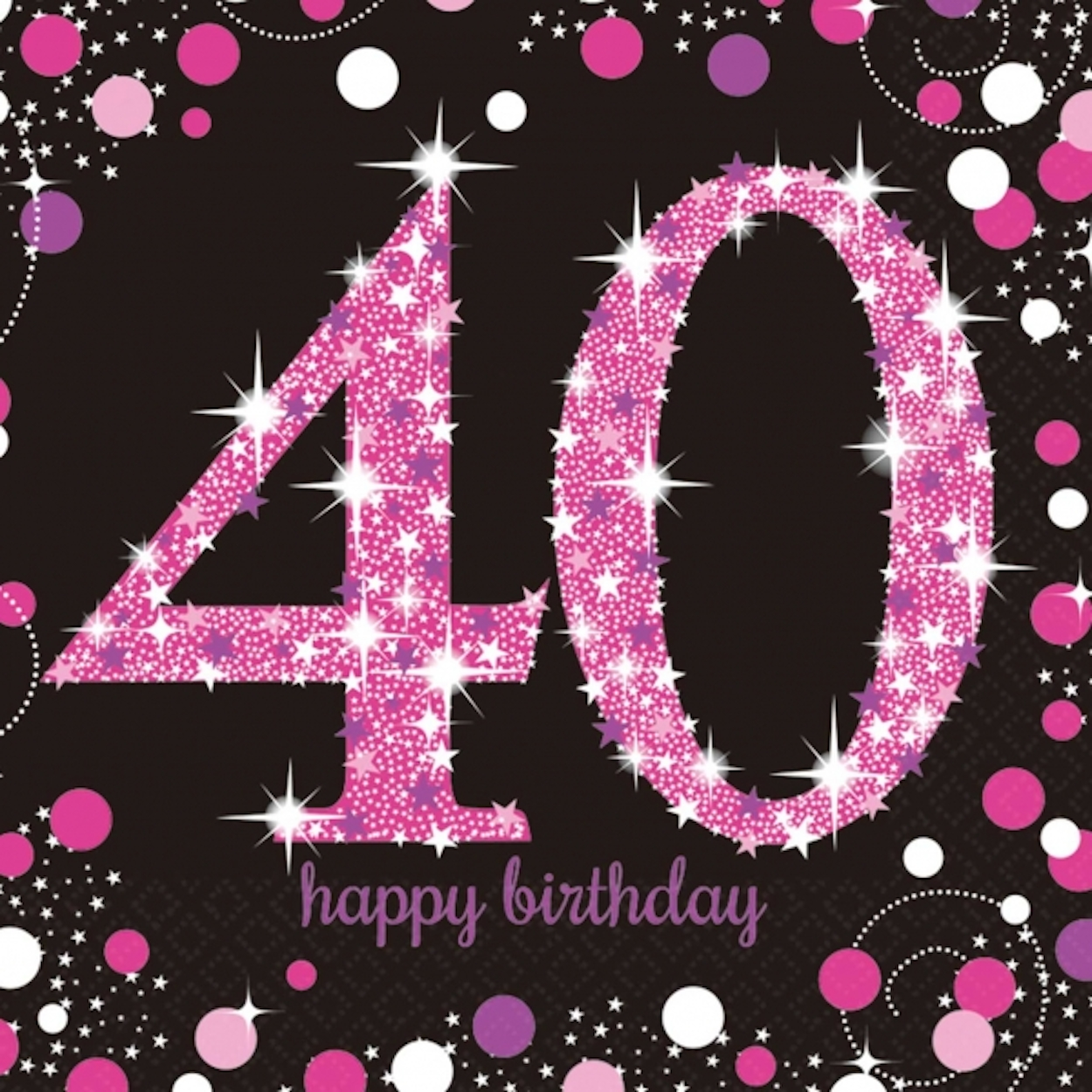 16 x Pink Celebration Age 40 Napkins Pink & Black 40th ... Pictures Of Baby Horses