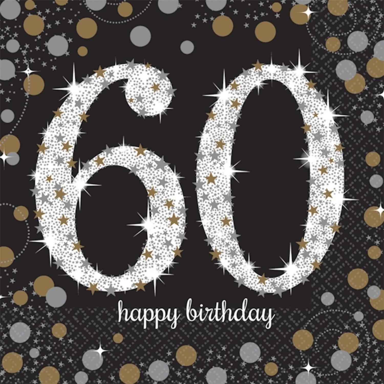 16 x Black Age 60 Napkins Black gold silver 60th Birthday Tableware Napkins