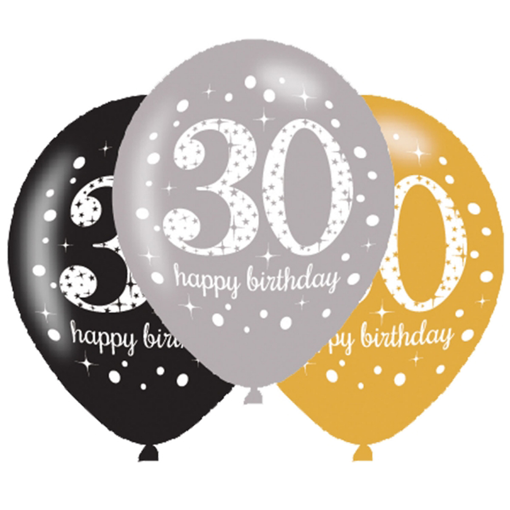 6 X 30th Birthday Balloons Black Silver Gold Party Decorations Age 30