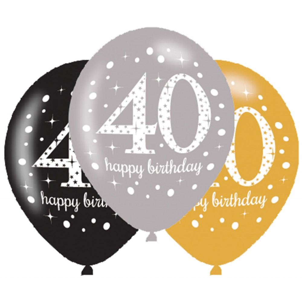 6 x 40th Birthday Balloons Black Silver Gold Party ...