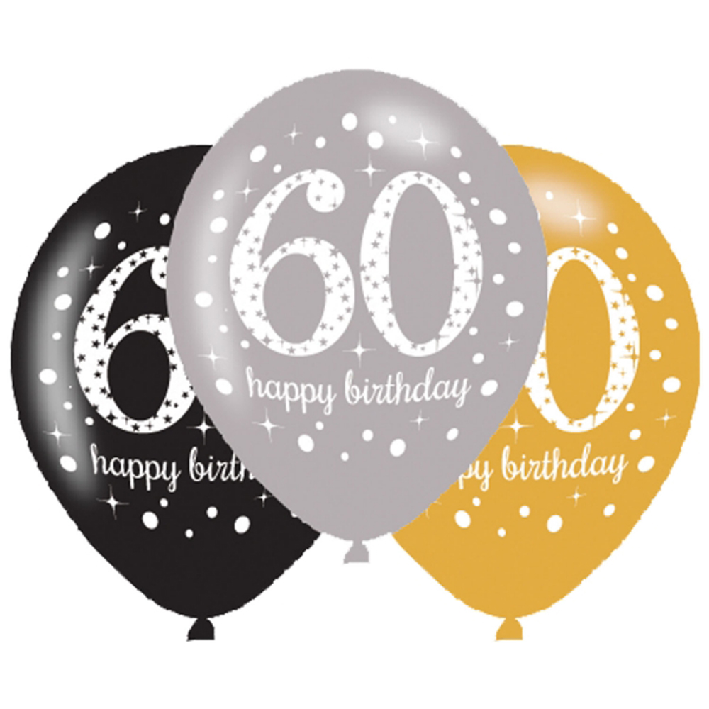 6 X 60th Birthday Balloons Black Silver Gold Party Decorations Age