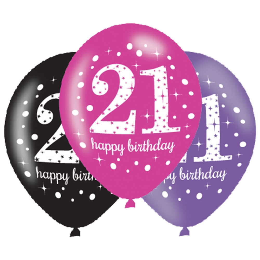 6 x 21st Birthday Balloons Black Pink Lilac Party Decorations Age 21 ...
