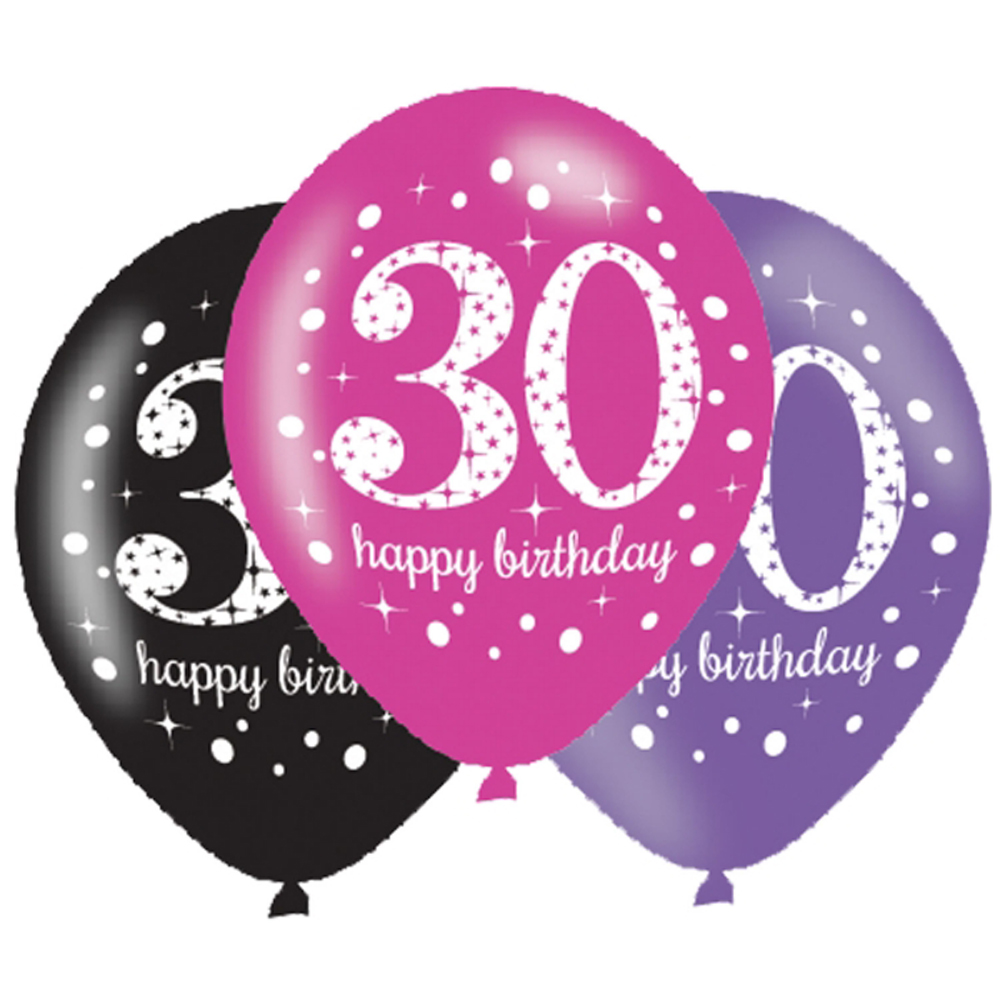6 X 30th Birthday Balloons Black Pink Lilac Party Decorations Age 30