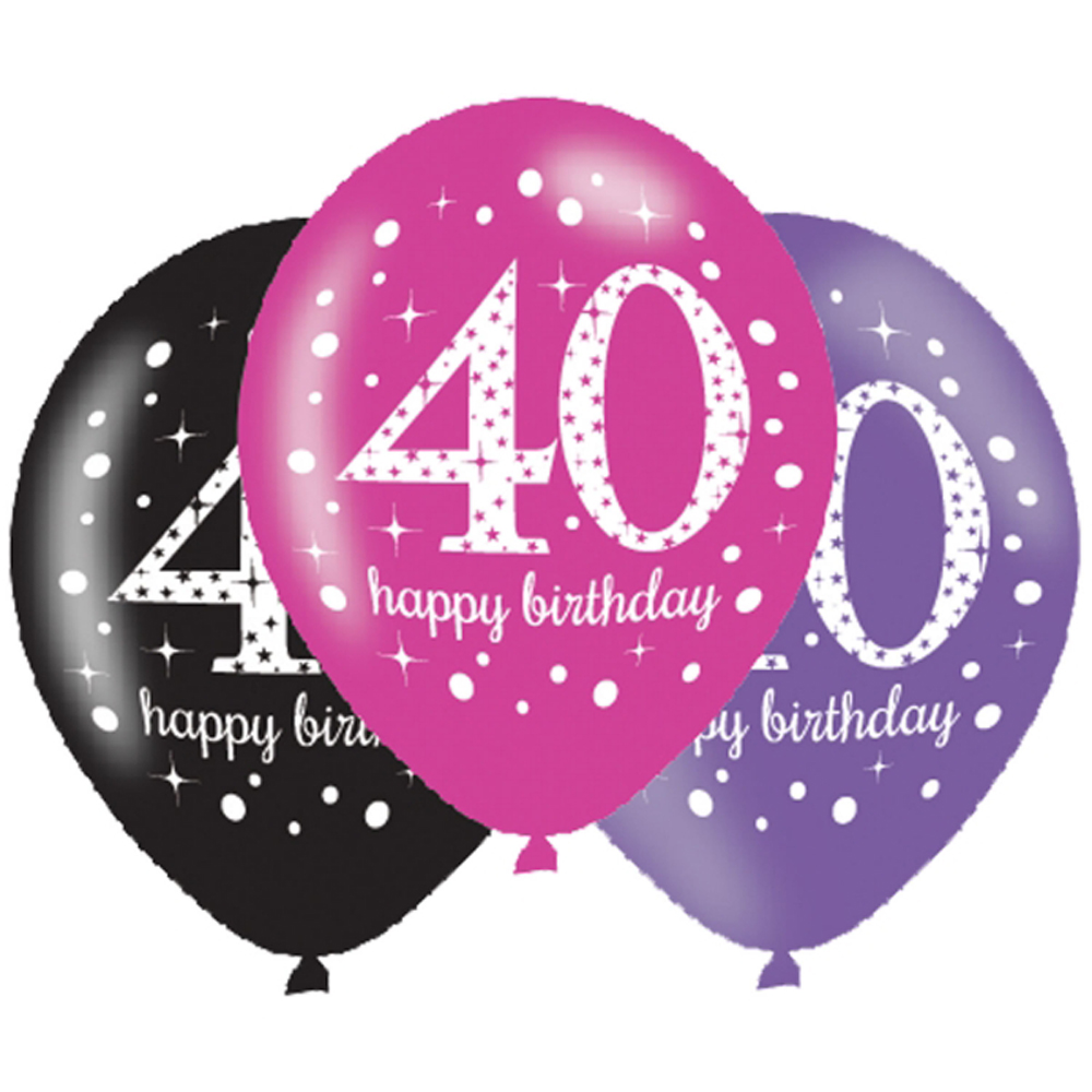 6 X 40th Birthday Balloons Black Pink Lilac Party Decorations Age 40
