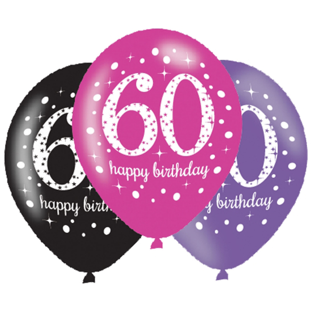 6 X 60th Birthday Balloons Black Pink Lilac Party Decorations Age 60