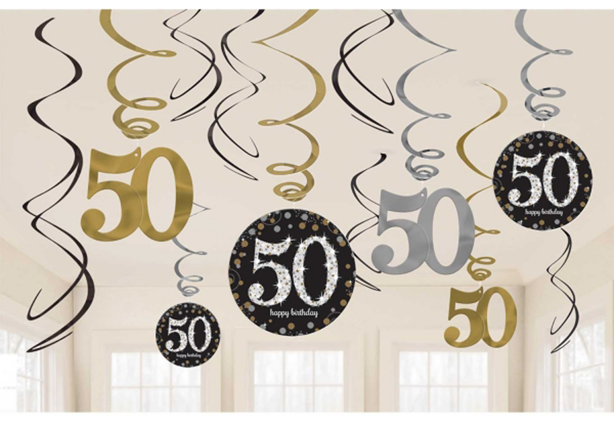 12 x 50th Birthday Hanging Swirls Black Silver Gold Party