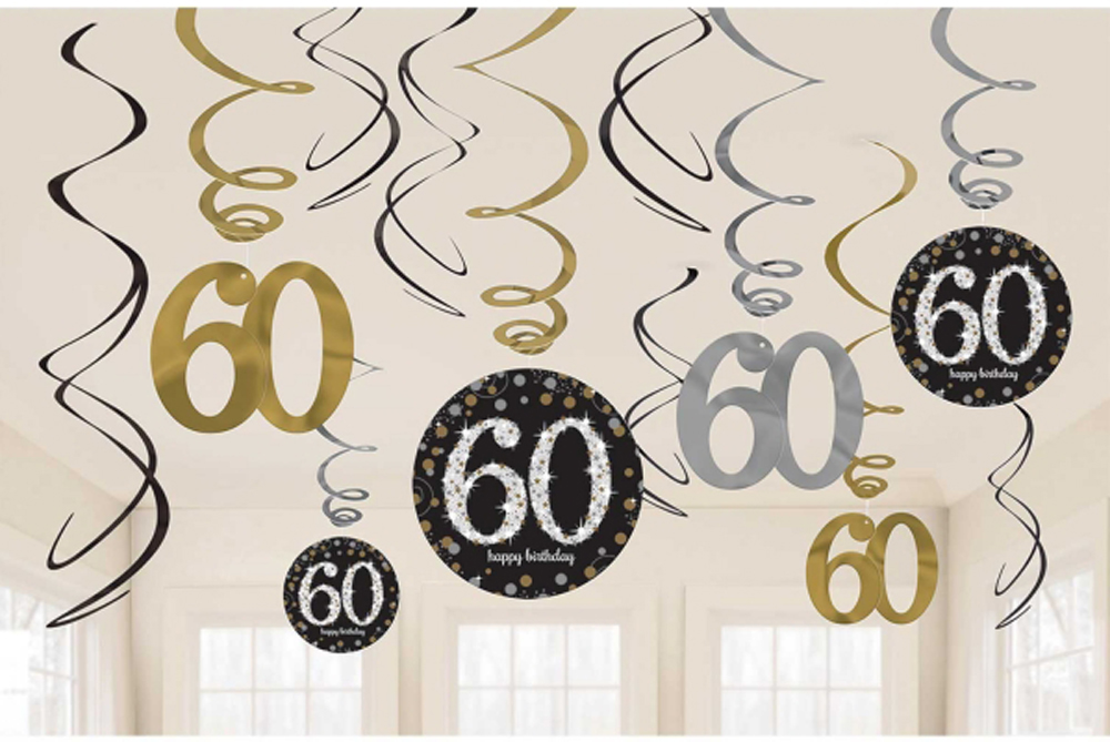 12 X 60th Birthday Hanging Swirls Black Silver Gold Party