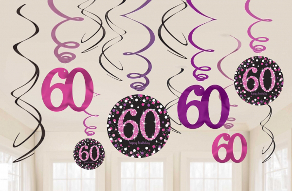 12 X 60th Birthday Hanging Swirls Black Pinks Party Decorations Age 60 FREE PP