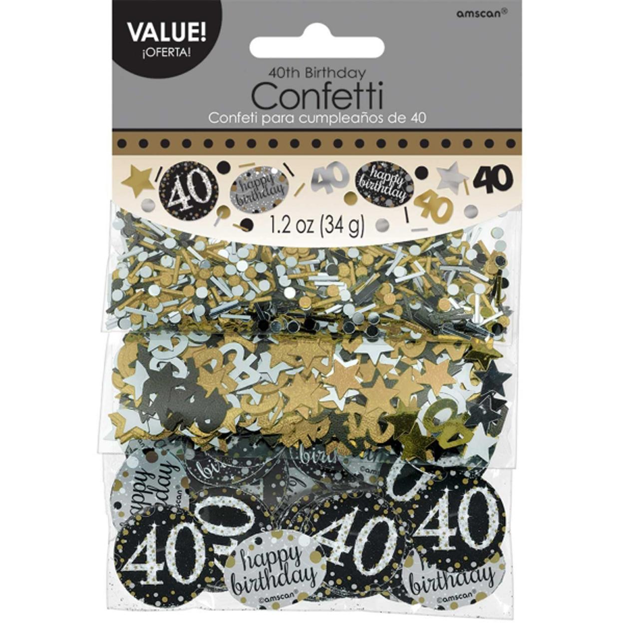 40th Birthday Confetti Table Decoration Sprinkle Black