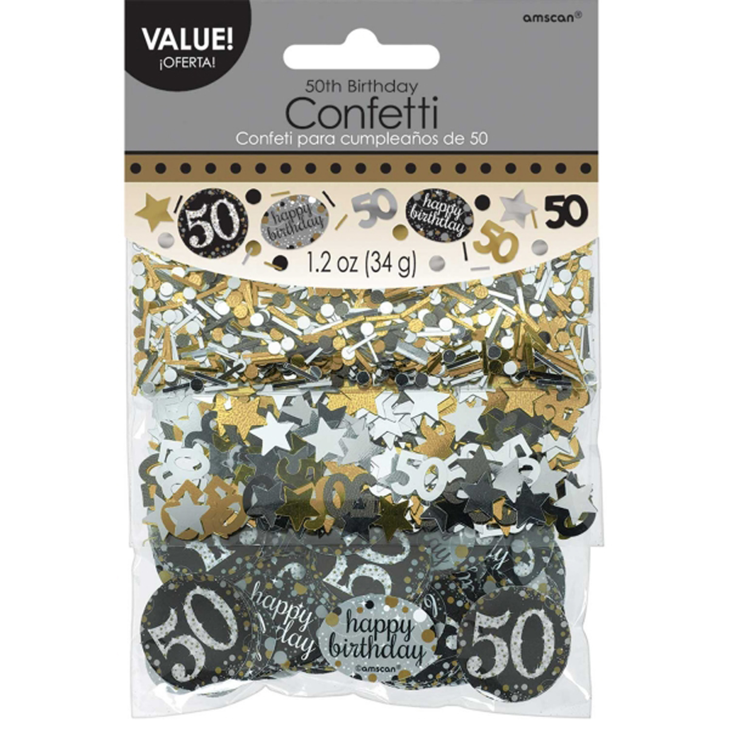 50th Birthday Confetti Table Decoration Sprinkle Black Silver Gold Age 50 Party