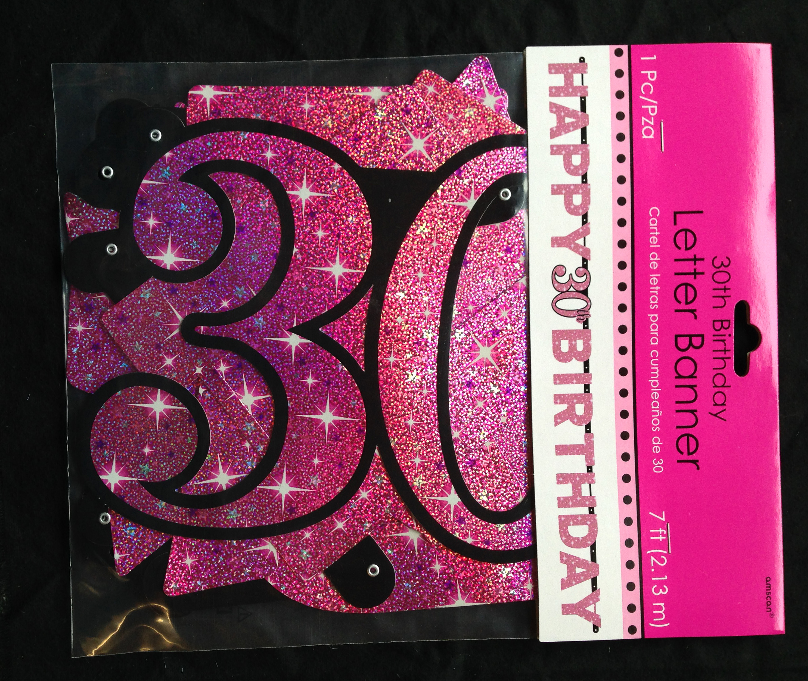Large 80th Birthday Letter Banner Pink Party Decoration Age 80 Prismatic Sparkle