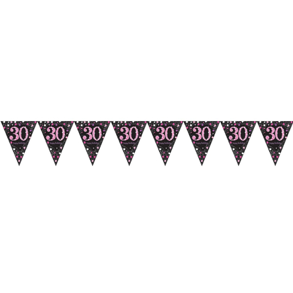 30th Birthday Pennant Flag Banner Black Pink Party Decorations Age 30 Bunting