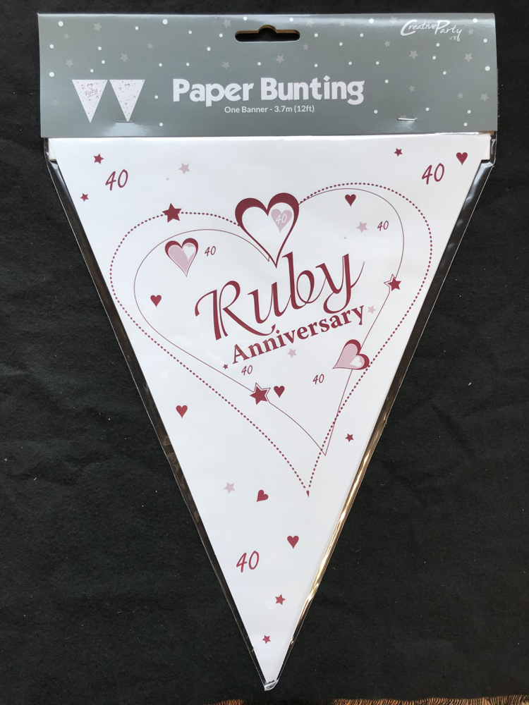 12ft RUBY ANNIVERSARY FLAG BUNTING 40 YEAR 40th PARTY WEDDING DECORATION NEW