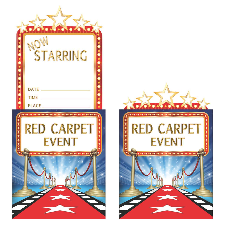 8 x Hollywood Invitation Invite Cards Red Carpet Movie Night Film Birthday  Party | eBay