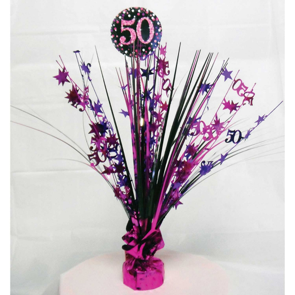 50th birthday spray centrepiece table decoration black for 50th party decoration