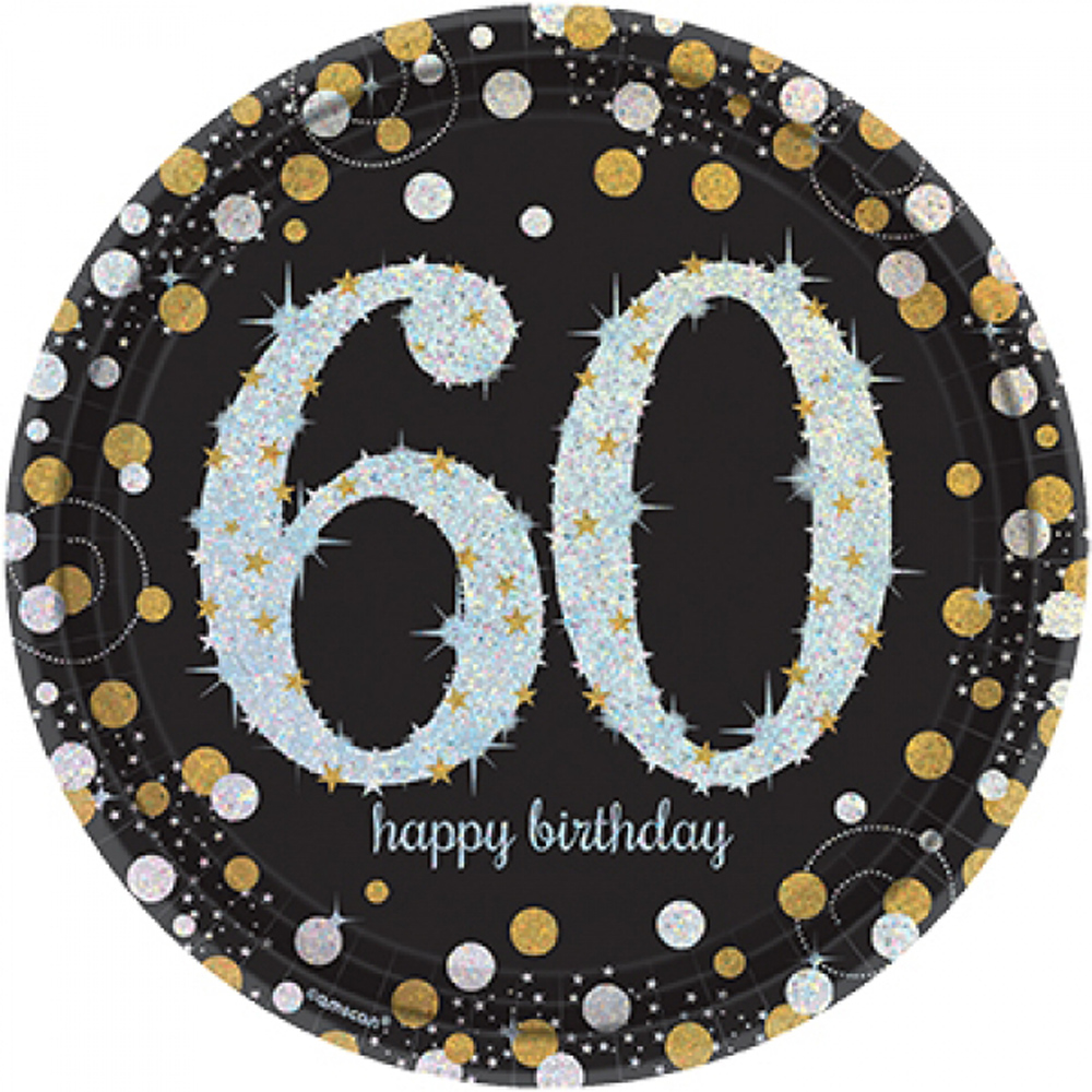 8 gold celebration age 60 paper plates silver gold black 60th birthday tableware 13051589325 ebay. Black Bedroom Furniture Sets. Home Design Ideas
