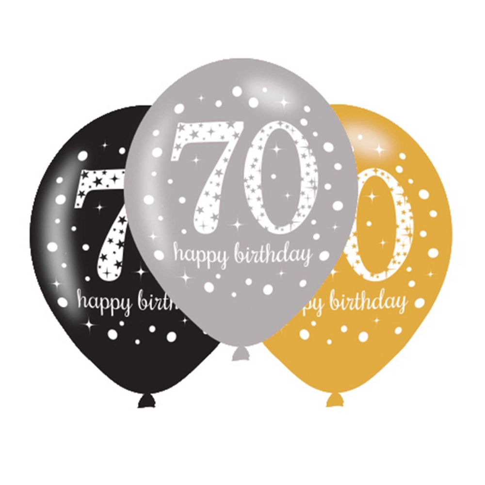 70th Birthday Black Silver Gold Party Decorations Balloons /& Tableware Age 70