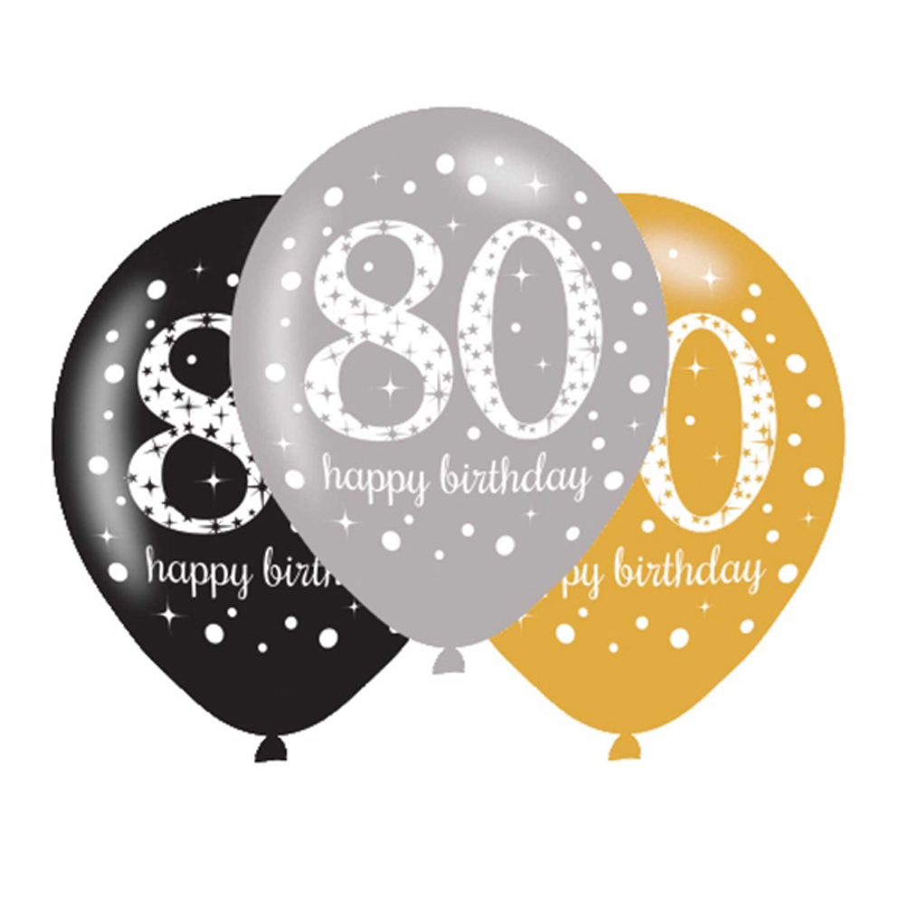 6 X 80th Birthday Balloons Black Silver Gold Party Decorations Age 80