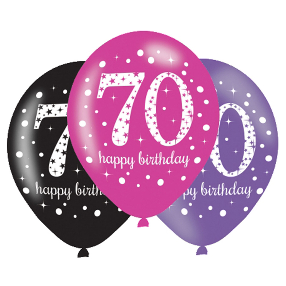 6 X 70th Birthday Balloons Black Pink Lilac Party Decorations Age 70
