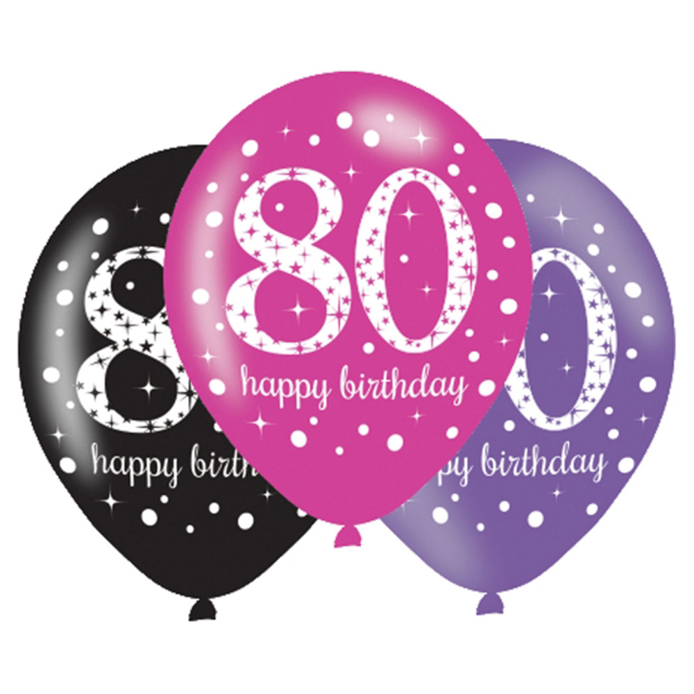 6 X 80th Birthday Balloons Black Pink Lilac Party Decorations Age 80