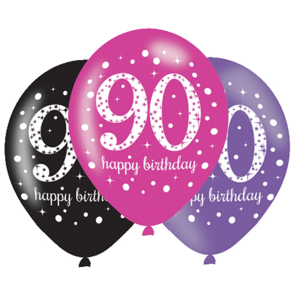 6 X 90th Birthday Balloons Black Pink Lilac Party Decorations Age 90