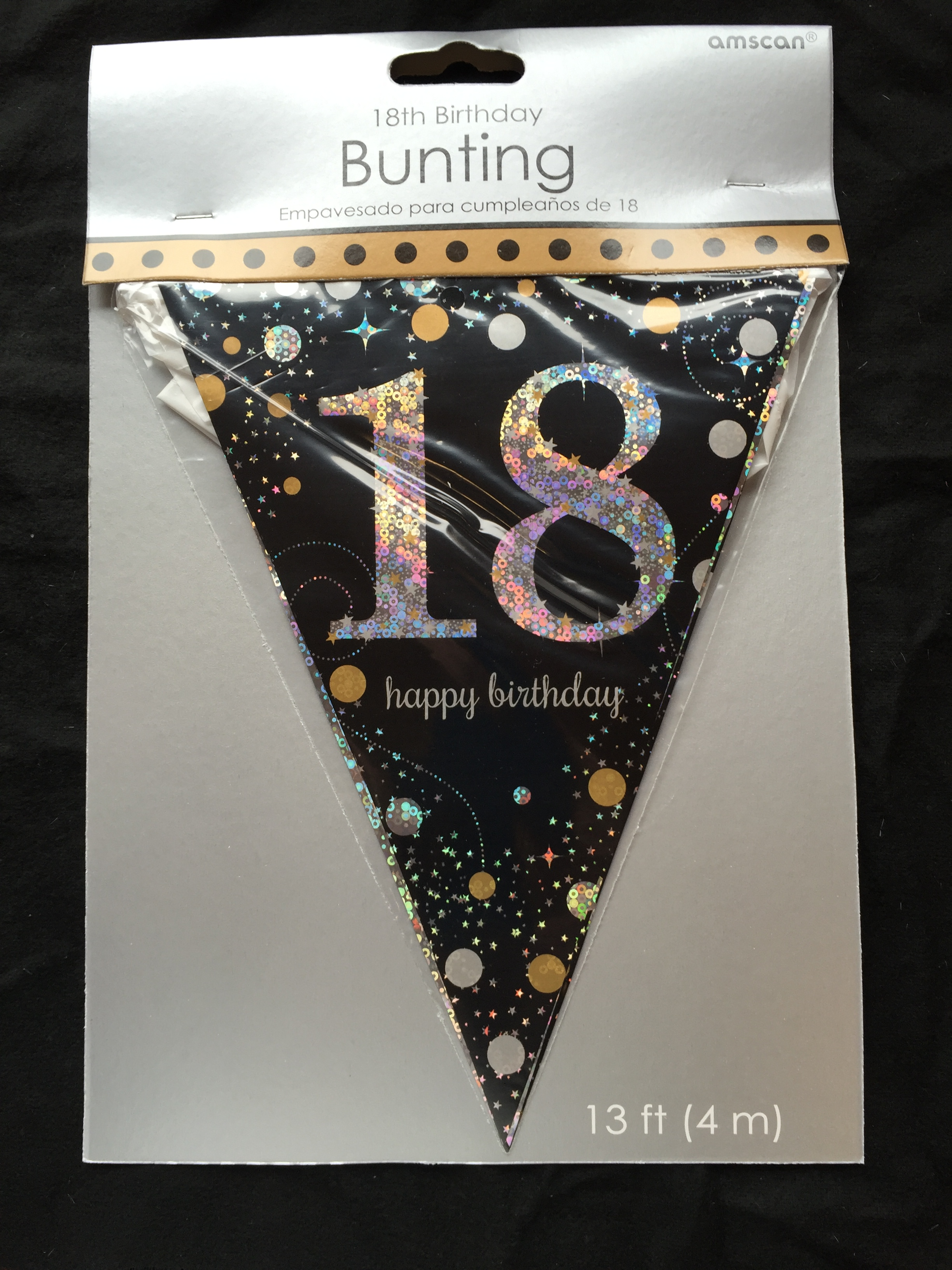 18th birthday pennant flag banner black silver gold party for 18th birthday party decoration