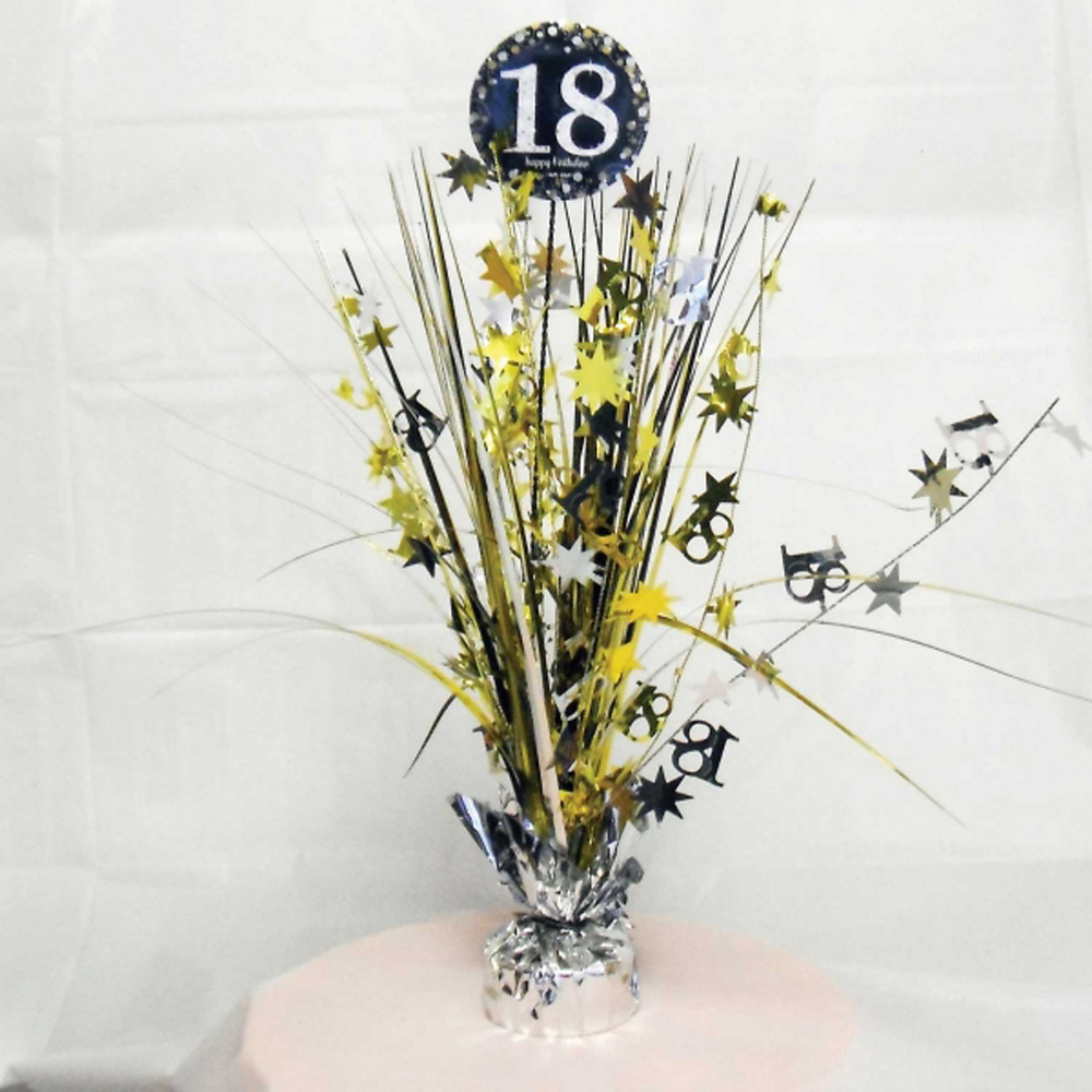 60th Birthday Spray Centrepiece Table Decoration Black Silver Gold Amscan Xmas Ornaments