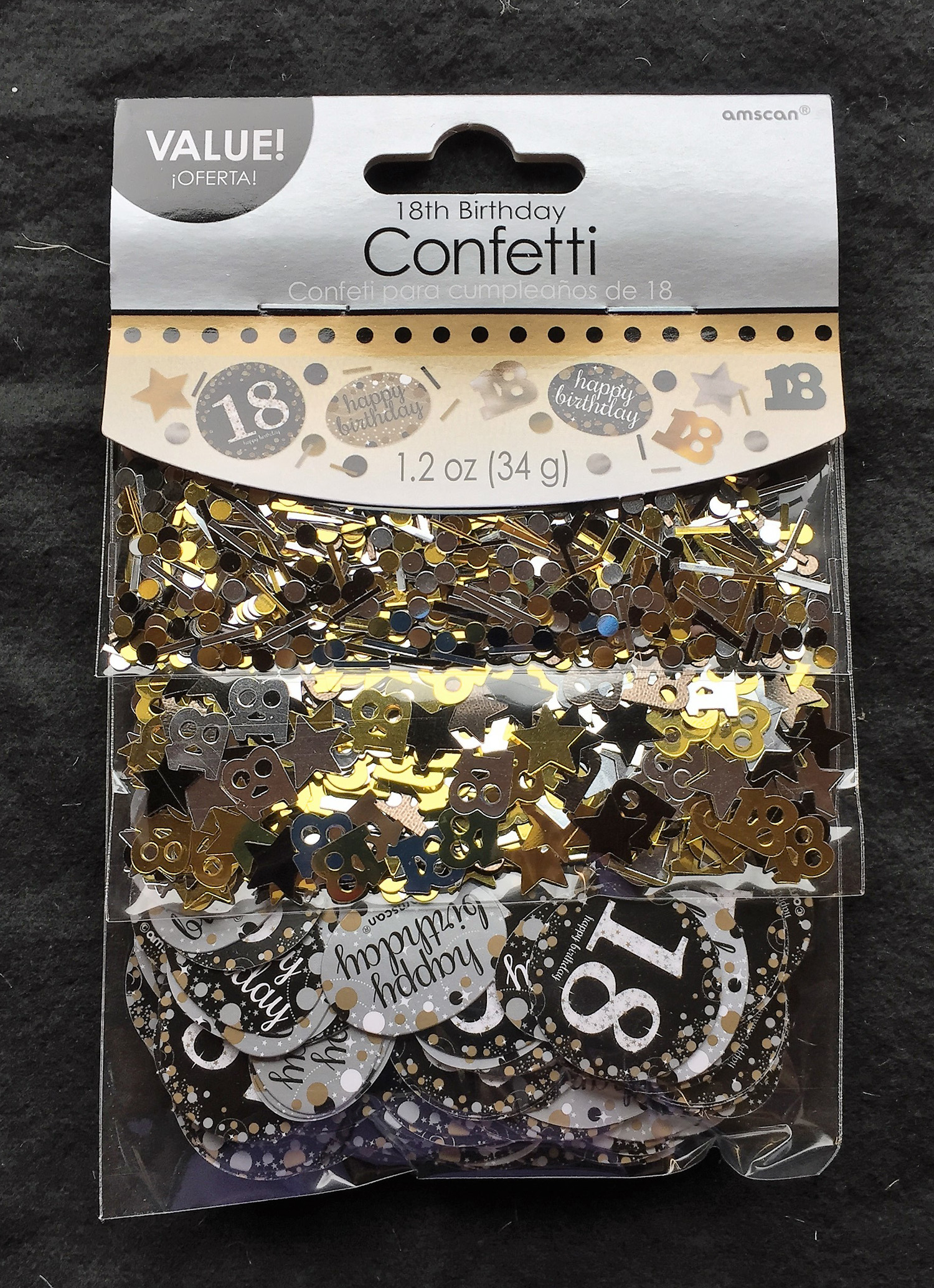 18th Birthday Confetti Table Decoration Sprinkle Black Silver Gold Age 18 Party