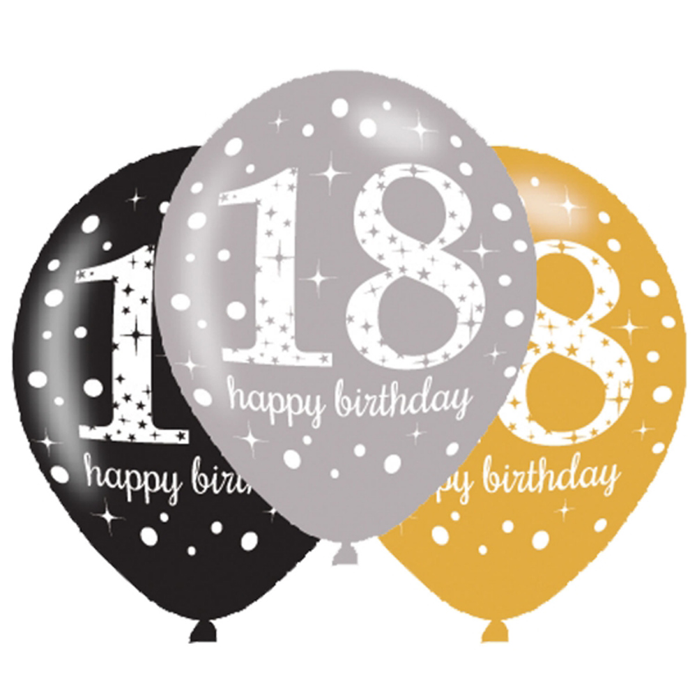 6 X 18th Birthday Balloons Black Silver Gold Party Decorations Age 18