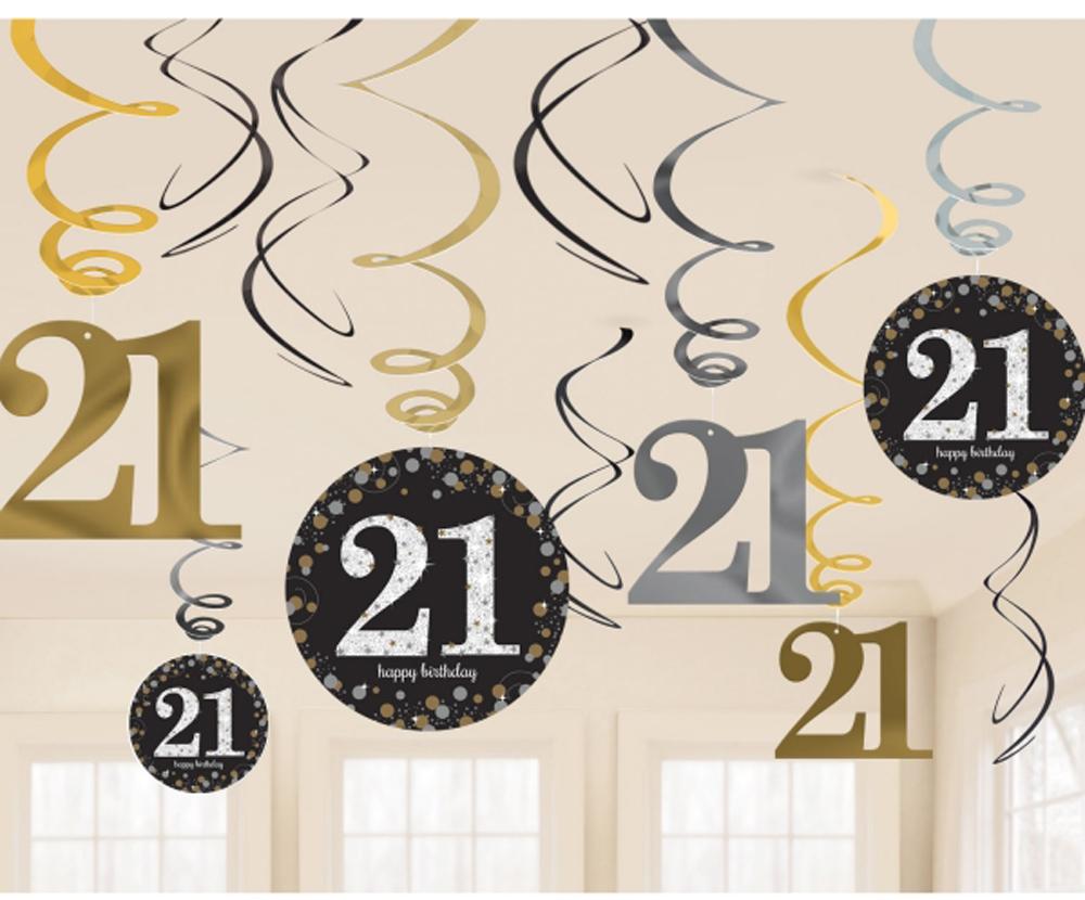 12 X 40th Birthday Hanging Swirls Black Silver Gold Party