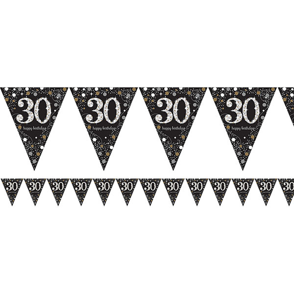 30th Birthday Pennant Flag Banner Black Silver Gold Party Decorations Age 30