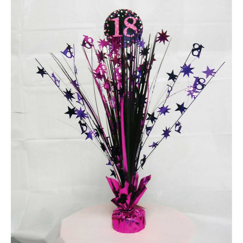 Th Birthday Spray Centrepiece Table Decoration Black Pink Purple - Table decoration ideas for 18th birthday