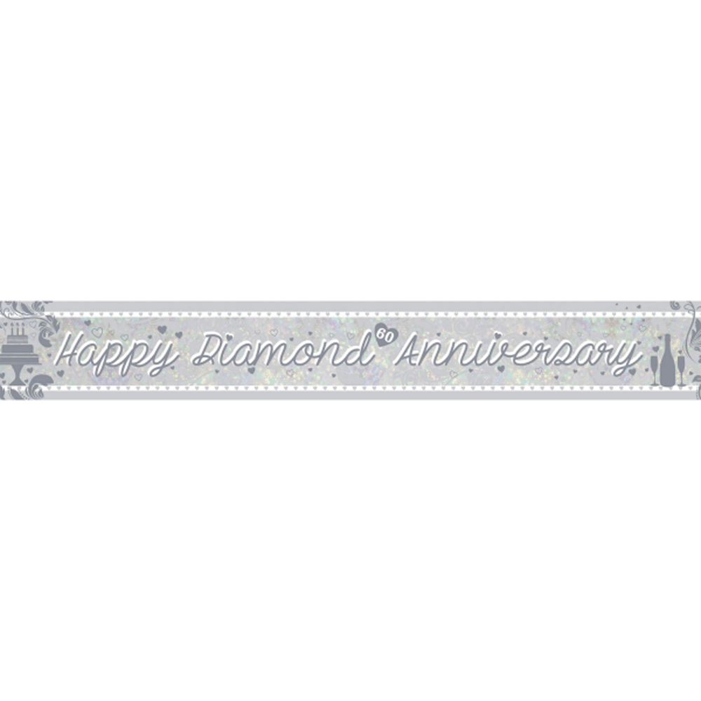 Diamond Wedding BANNER 60th Anniversary Banner Party Decoration ...