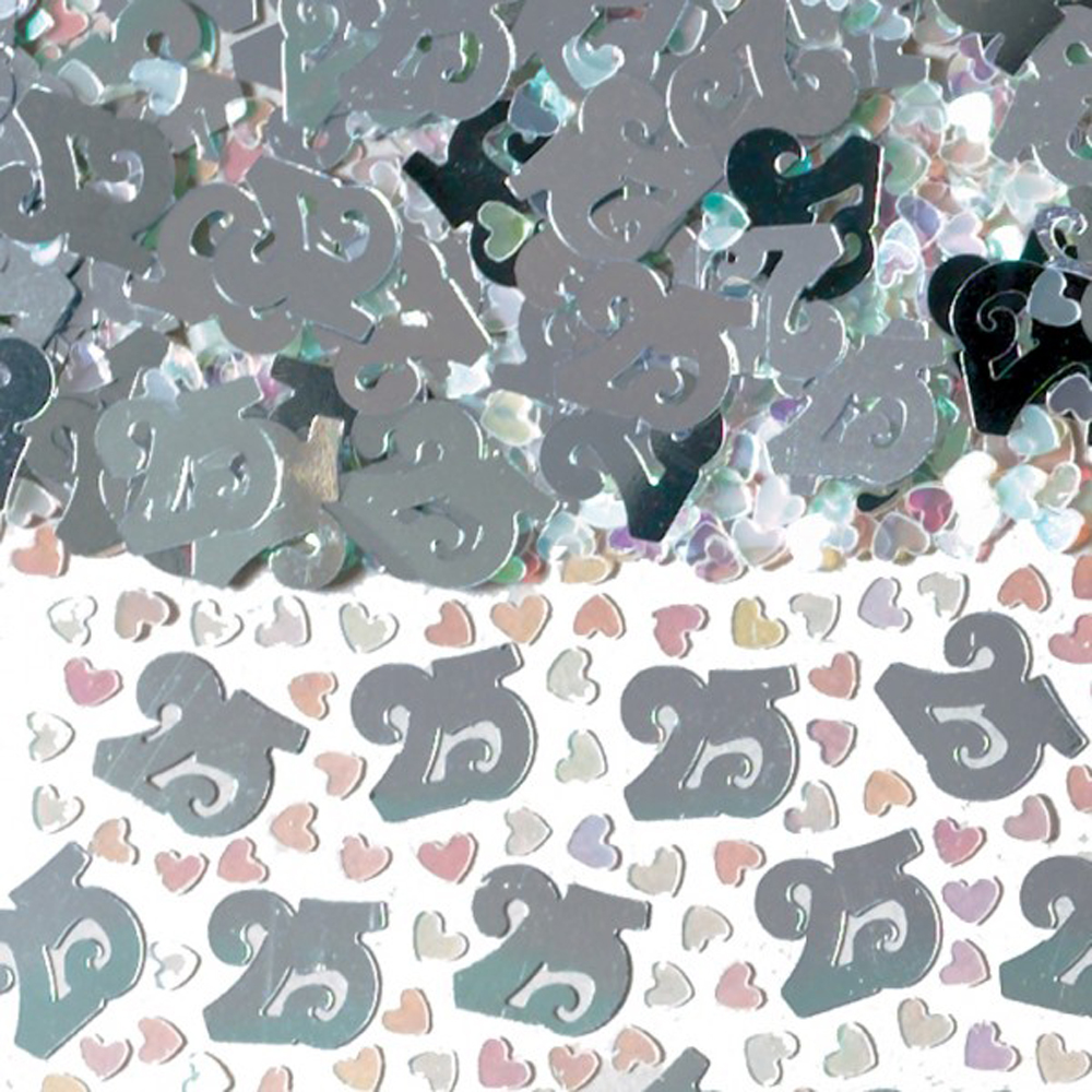 Silver 25s Wedding Table Confetti 25th Anniversary Sprinkles Decorations