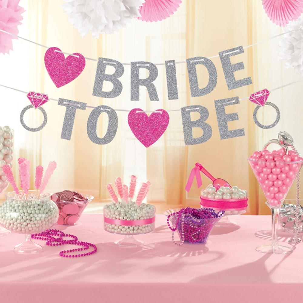 Hen night party bride to be glitter banner party for Wedding party decorations