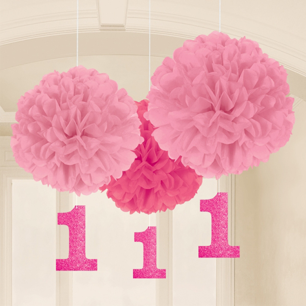 3 X 1st Birthday PINK Fluffy Pom Hangers Girls Age 1 Dangling Decoration