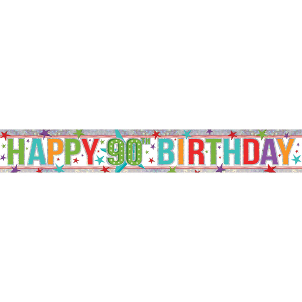 90th Happy Birthday Banner Party Decoration AGE 90 Bunting