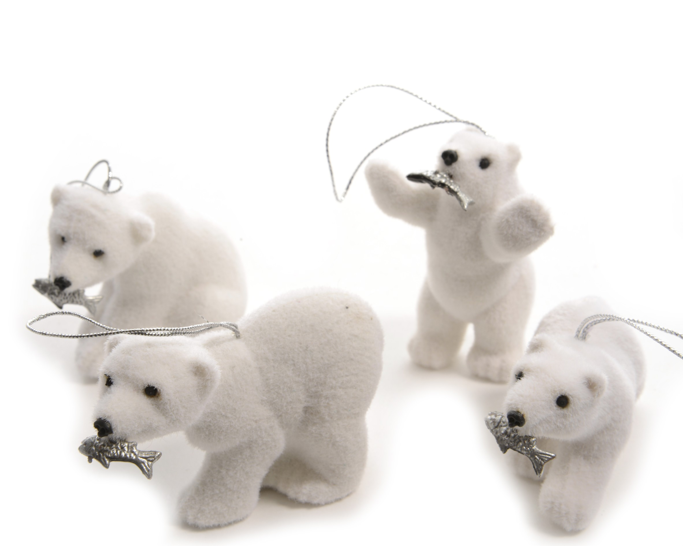 6 X White Polar Bears Hanging Christmas Tree Decorations Silver Fish