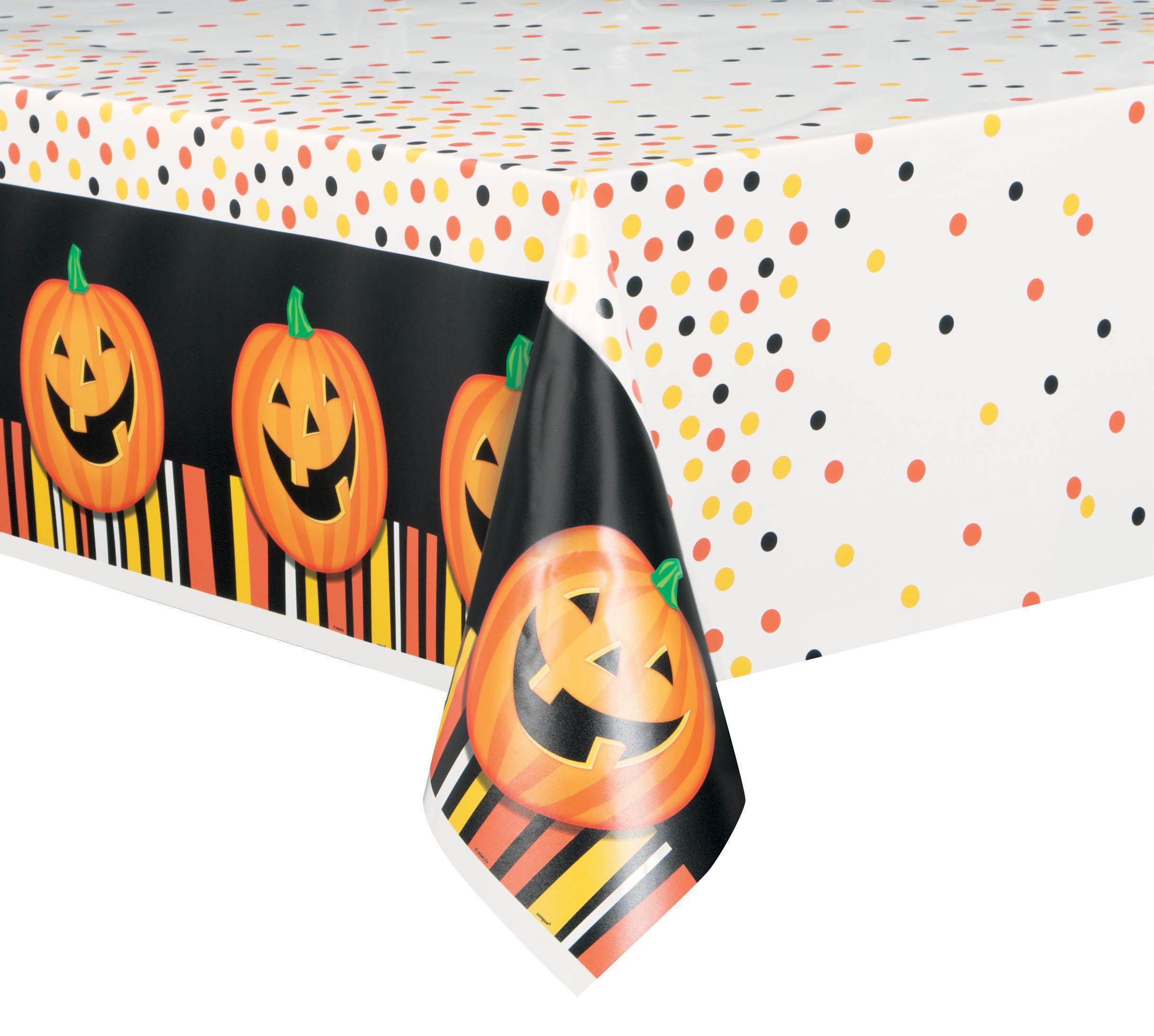 Addobbi Tavola Per Halloween dettagli su zucca di halloween tovaglia cerata arancione e nero servizio da  tavola festa