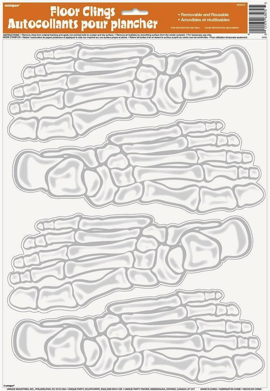 4 Skeleton Feet Footprints Floor Clings Halloween Party Decorations