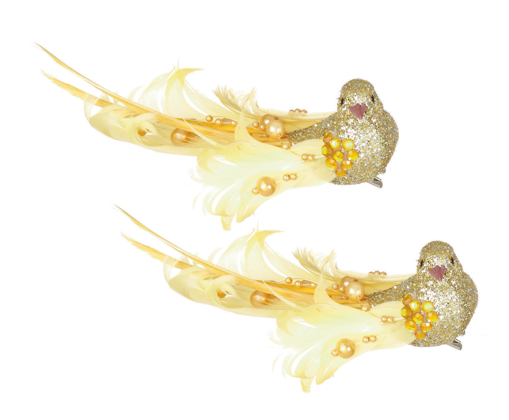 2 x gold clip on glitter feather birds christmas tree decorations wedding - Bird Christmas Tree Decorations