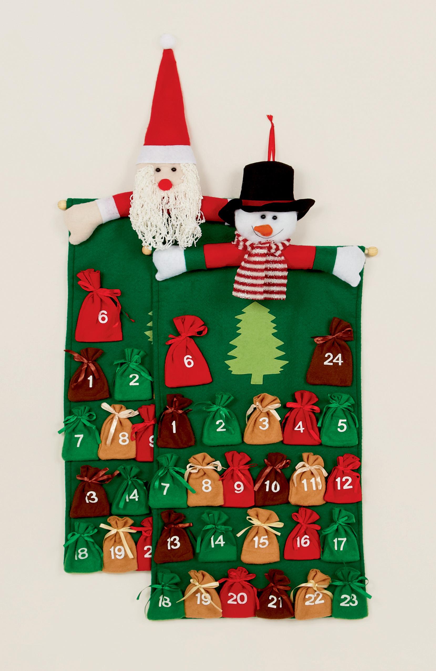 Calendario Dellavvento In Feltro.Dettagli Su Feltro Tessuto Babbo Pupazzo Di Neve Natale Calendario Avvento Sack Tasche Per