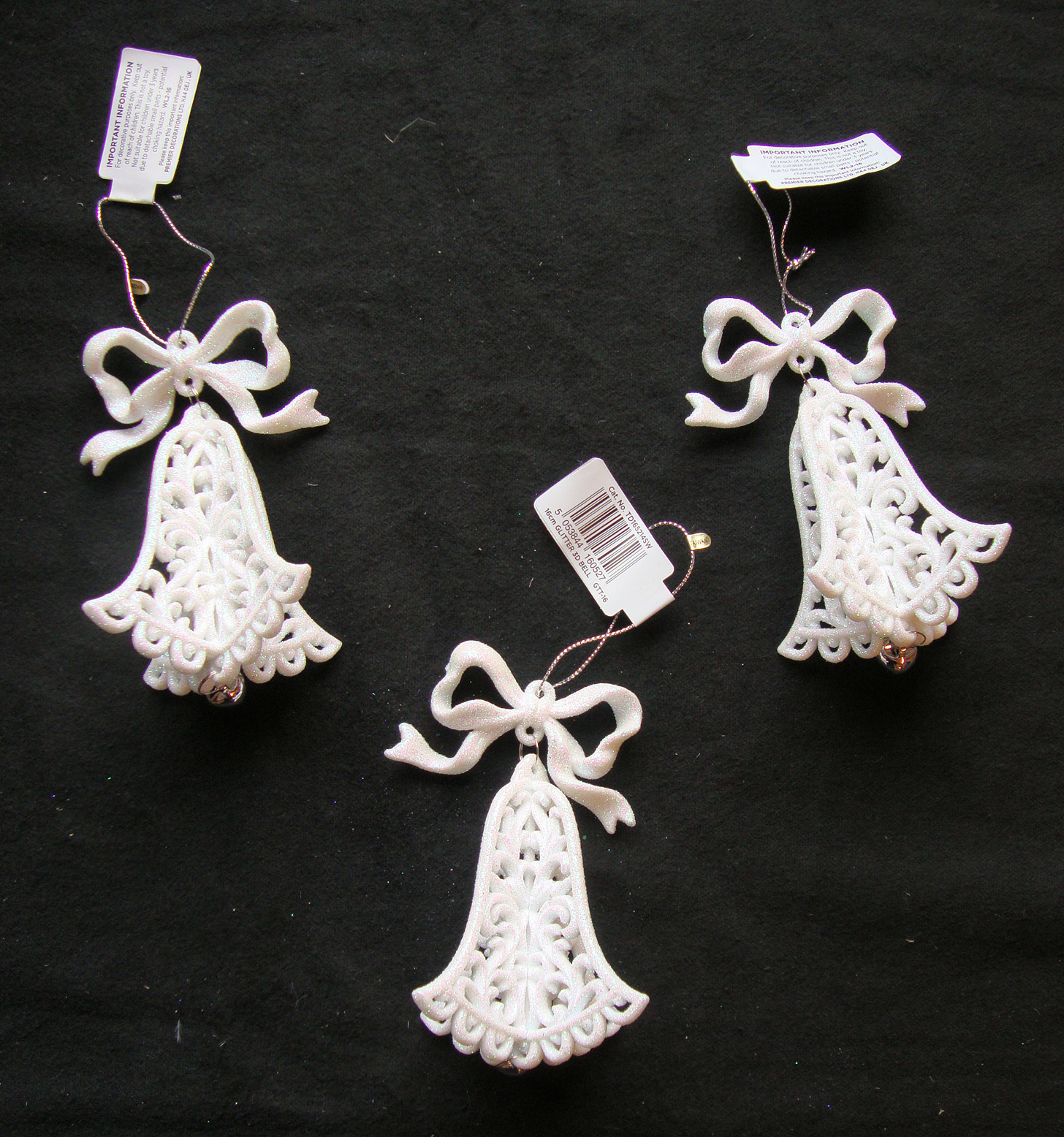 3 X White 3d Bell Christmas Tree Hanging Decorations Wedding Hanger