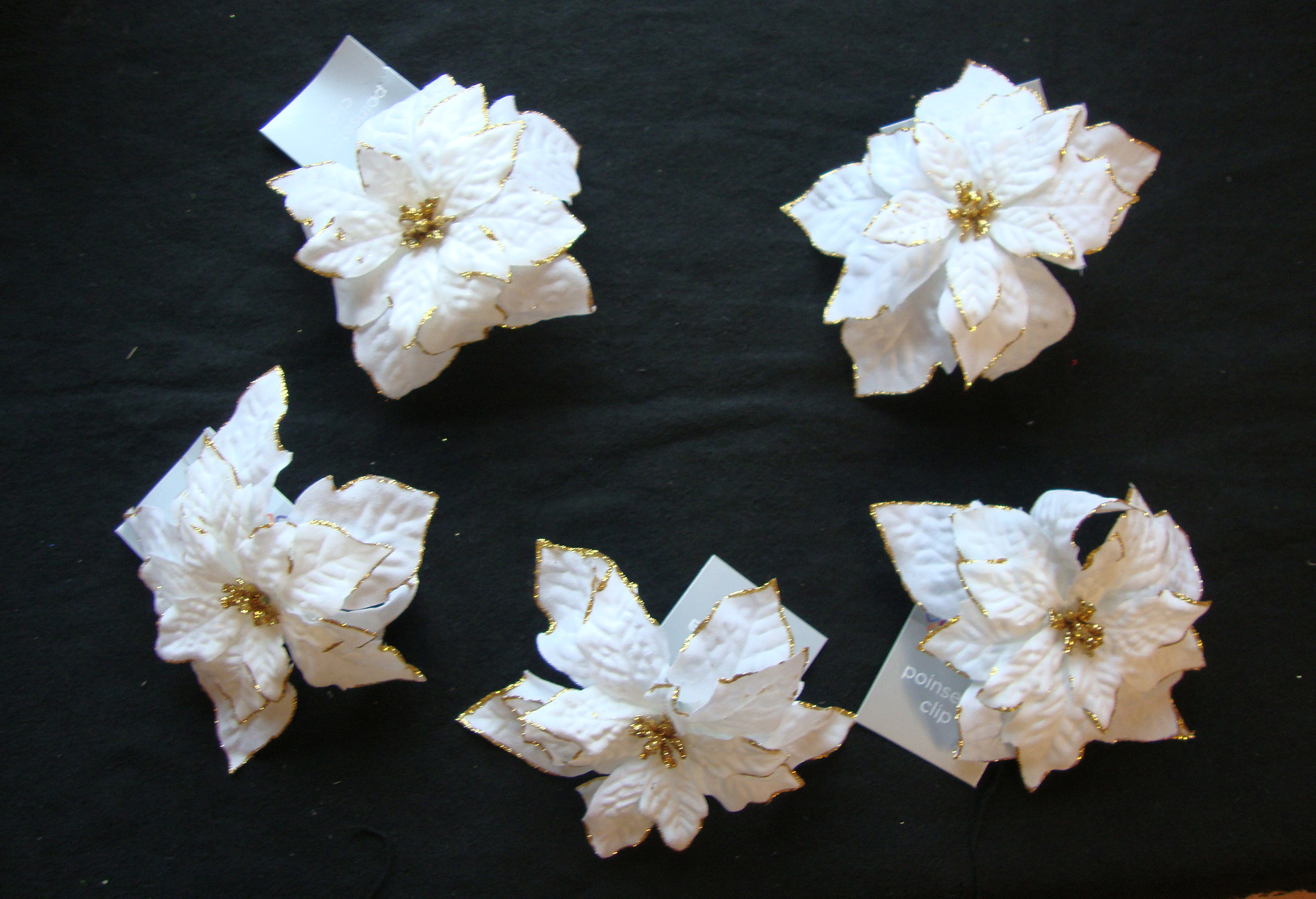 5 x winter white clip on poinsettia christmas tree decorations christmas picks - Poinsettia Christmas Tree Decorations