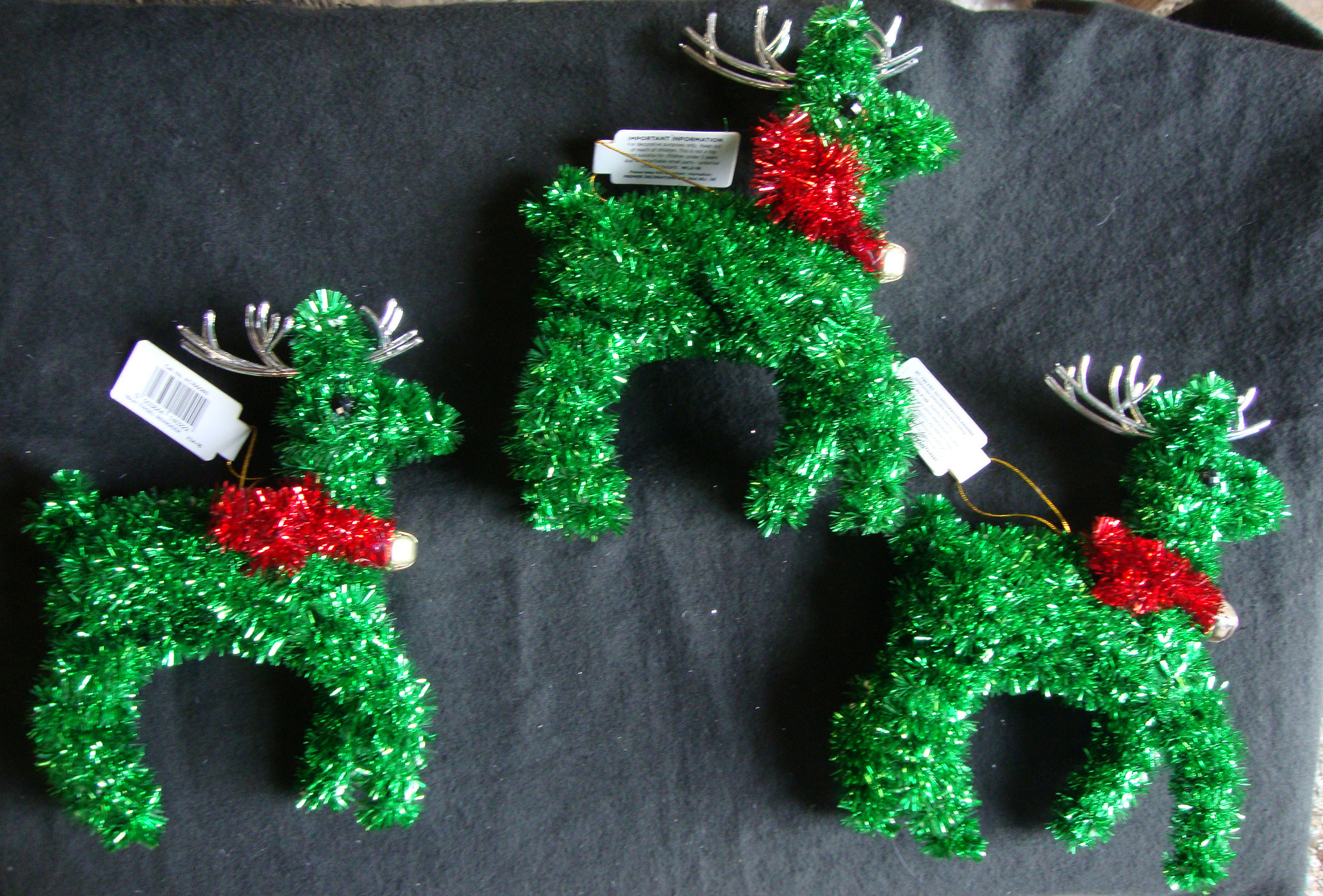 3 X Large CHEAP Green Tinsel Reindeer Christmas Tree