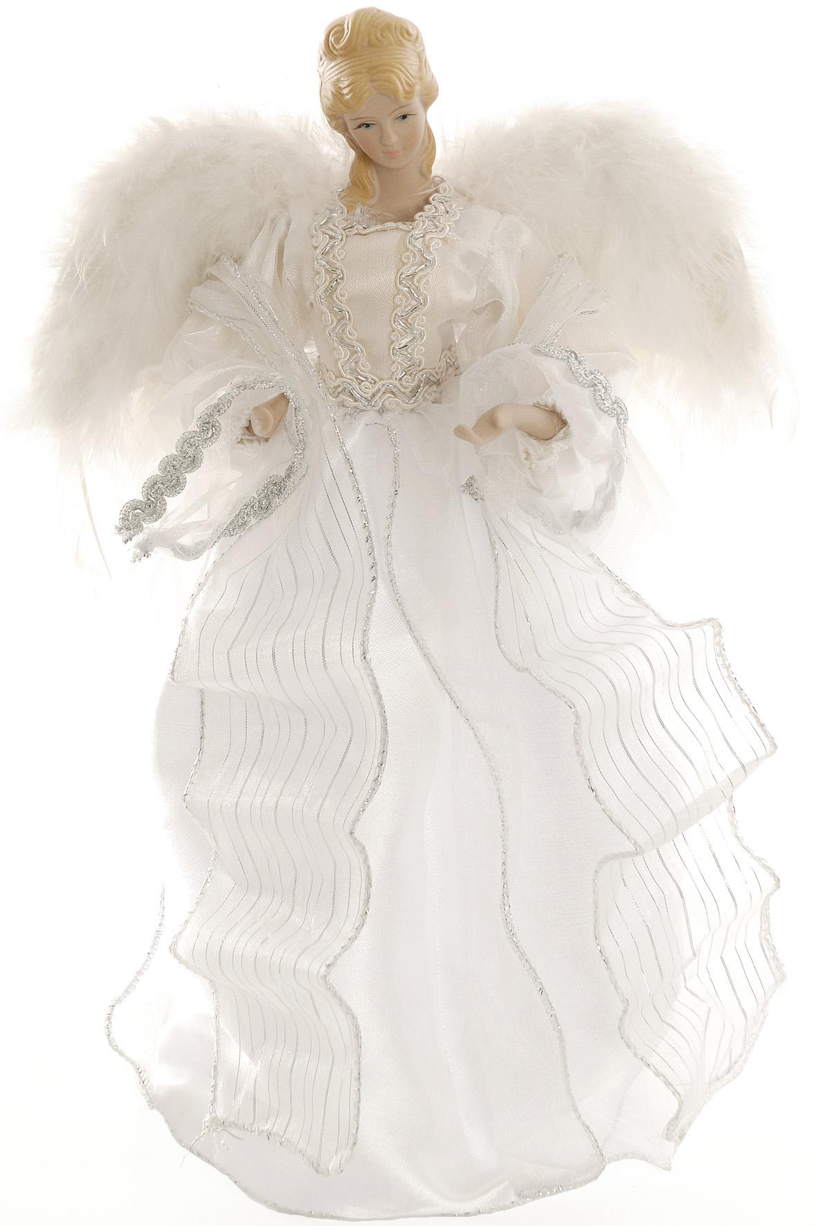 Blanc argent f e ange sapin de no l cantonni re d coration style vintage plumes ebay - Ange sapin noel ...